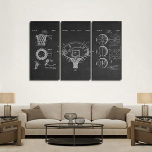 Basketball Patent Compilation BW Multi Panel Canvas Wall Art - Basketball