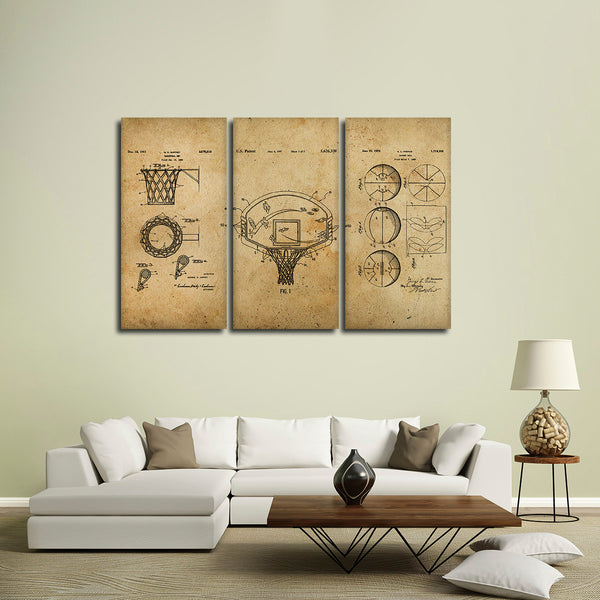 Basketball Patent Compilation Multi Panel Canvas Wall Art