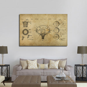Basketball Patent Compilation Multi Panel Canvas Wall Art - Basketball