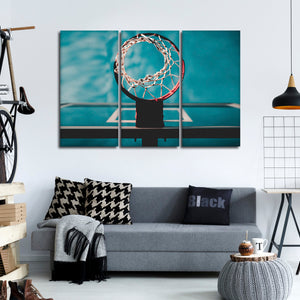 Basketball Hoop Multi Panel Canvas Wall Art - Basketball