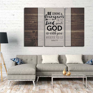 Be Strong And Courageous Multi Panel Canvas Wall Art - Religion