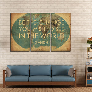 Be The Change Multi Panel Canvas Wall Art - World_map