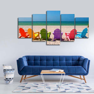 Beach Chairs Multi Panel Canvas Wall Art - Beach