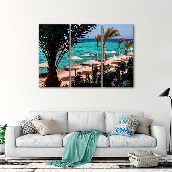 Beach Umbrellas Multi Panel Canvas Wall Art