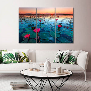 Beautiful Lotus Blooms Multi Panel Canvas Wall Art - Nature