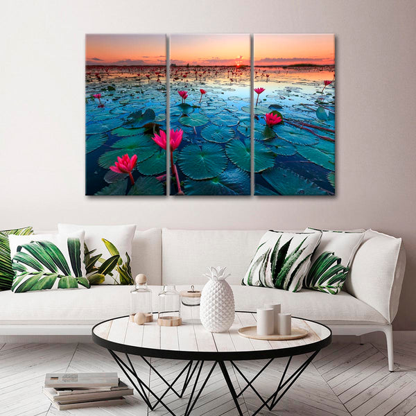 Beautiful Lotus Blooms Multi Panel Canvas Wall Art