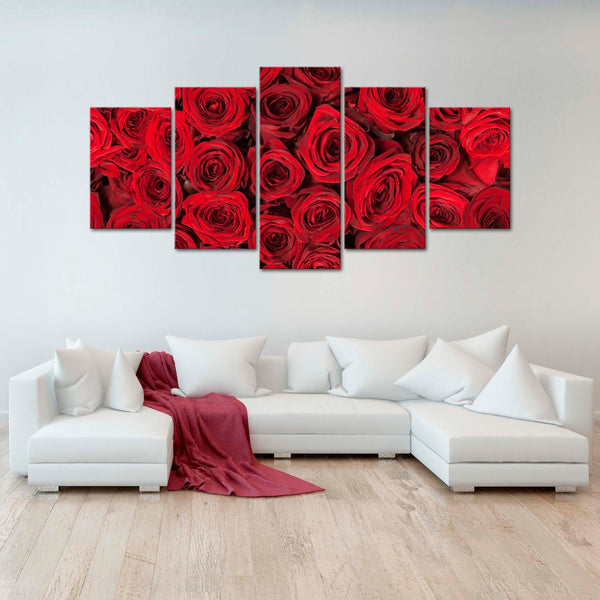 Bed of Roses Multi Panel Canvas Wall Art