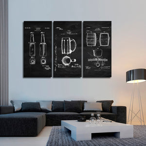 Beer Patent Compilation BW Multi Panel Canvas Wall Art - Kitchen