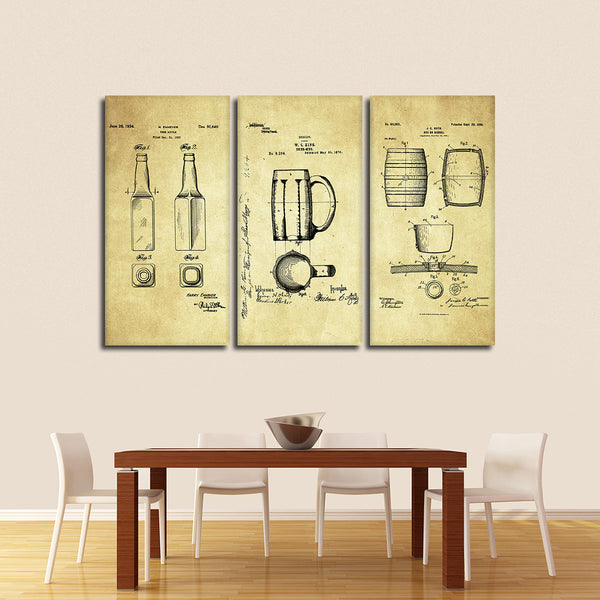 Beer Patent Compilation Multi Panel Canvas Wall Art | ElephantStock