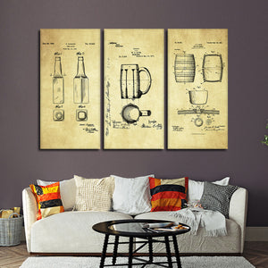 Beer Patent Compilation Multi Panel Canvas Wall Art - Kitchen