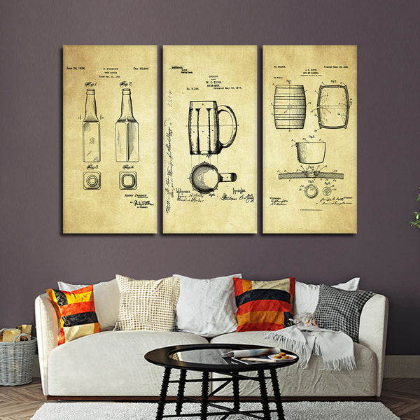 Beer Patent Compilation Multi Panel Canvas Wall Art