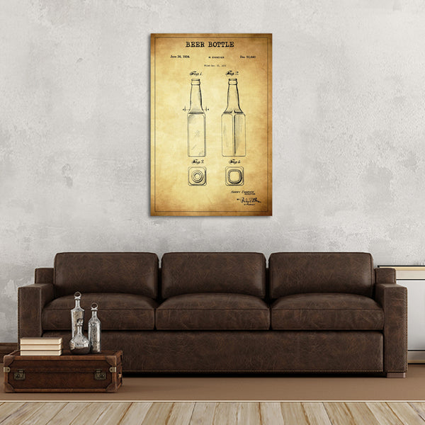 Beer Bottle Patent Canvas Wall Art | ElephantStock