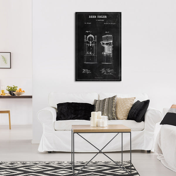Beer Cooler Patent BW Canvas Wall Art