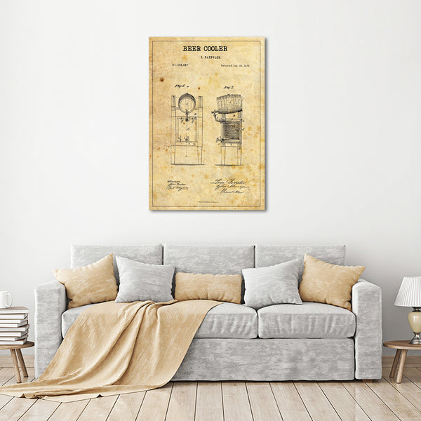 Beer Cooler Patent Canvas Wall Art