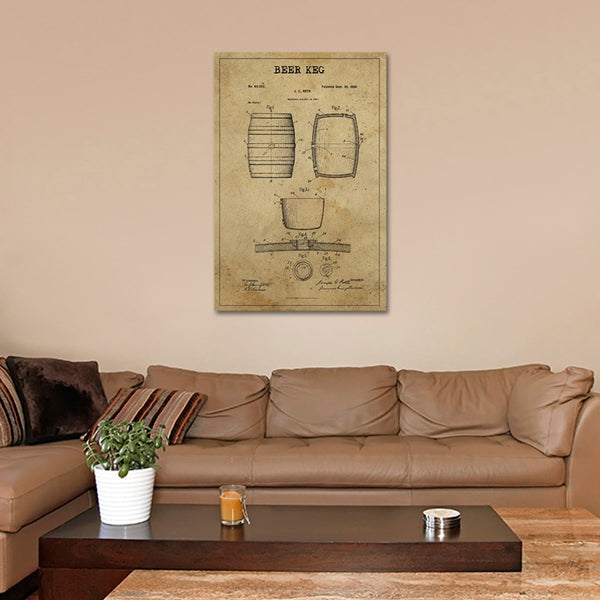 Beer Keg Patent Canvas Wall Art