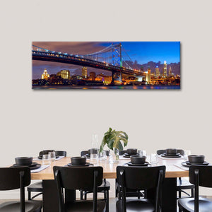 Benjamin Franklin Bridge Multi Panel Canvas Wall Art - Bridge