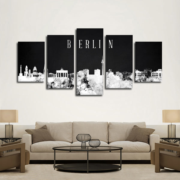 Berlin Watercolor Skyline BW Multi Panel Canvas Wall Art
