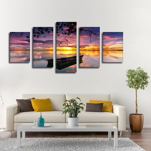 Beyond The Sunset Multi Panel Canvas Wall Art - Boat