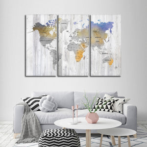 Bianco Wood World Map Multi Panel Canvas Wall Art - World_map