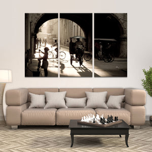 Bicitaxi in Havana Multi Panel Canvas Wall Art - Latin