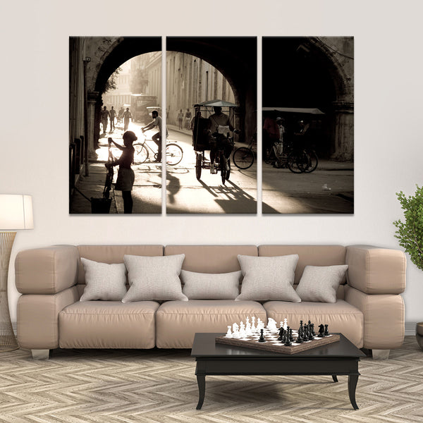 Bicitaxi in Havana Multi Panel Canvas Wall Art