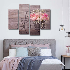 Bicycle Flower Vase Multi Panel Canvas Wall Art - Flower