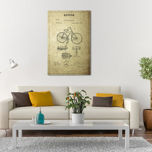 Bicycle Patent Canvas Wall Art - Bicycle