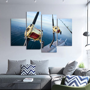 Big Game Fishing Reel Multi Panel Canvas Wall Art - Fishing