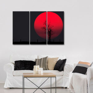 Big Red Moon Multi Panel Canvas Wall Art - Nature