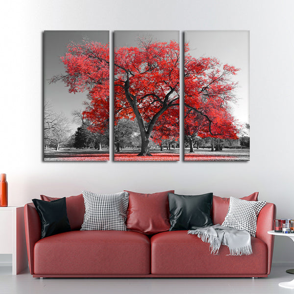 Big Red Tree Multi Panel Canvas Wall Art