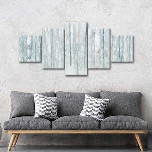 Birches in Winter Blue Gray Multi Panel Canvas Wall Art - Nature