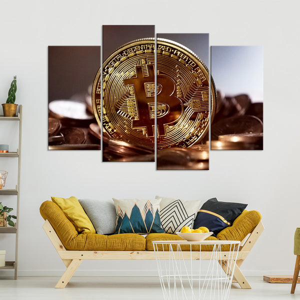 Bitcoin Closeup Multi Panel Canvas Wall Art