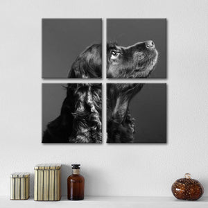 Black Cocker Spaniel Multi Panel Canvas Wall Art - Dog