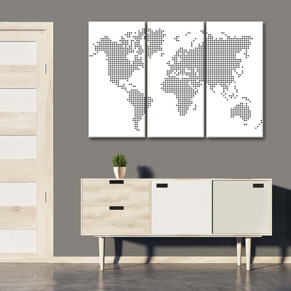 Black Dotted World Map Multi Panel Canvas Wall Art