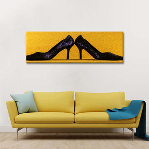 Black Stiletto Heels Multi Panel Canvas Wall Art - Shoes