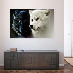 Black and White Wolf Multi Panel Canvas Wall Art - Wolf
