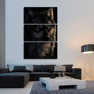 Black Alpha Multi Panel Canvas Wall Art - Wolf