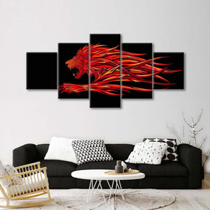 Blazing Lion Multi Panel Canvas Wall Art - Lion