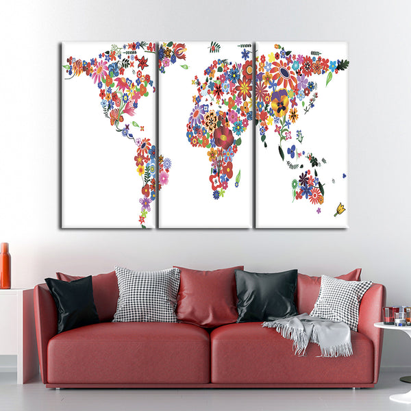 Blooming Flower World Map Multi Panel Canvas Wall Art