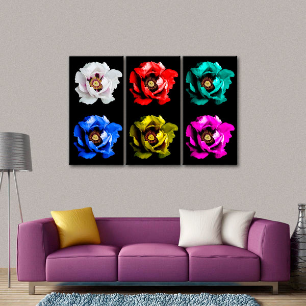 Blooming Peonies Multi Panel Canvas Wall Art