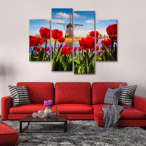Bloomy Windmill Multi Panel Canvas Wall Art - Windmill