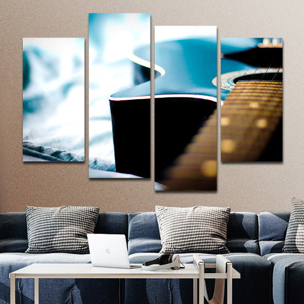 Blue Guitar Multi Panel Canvas Wall Art
