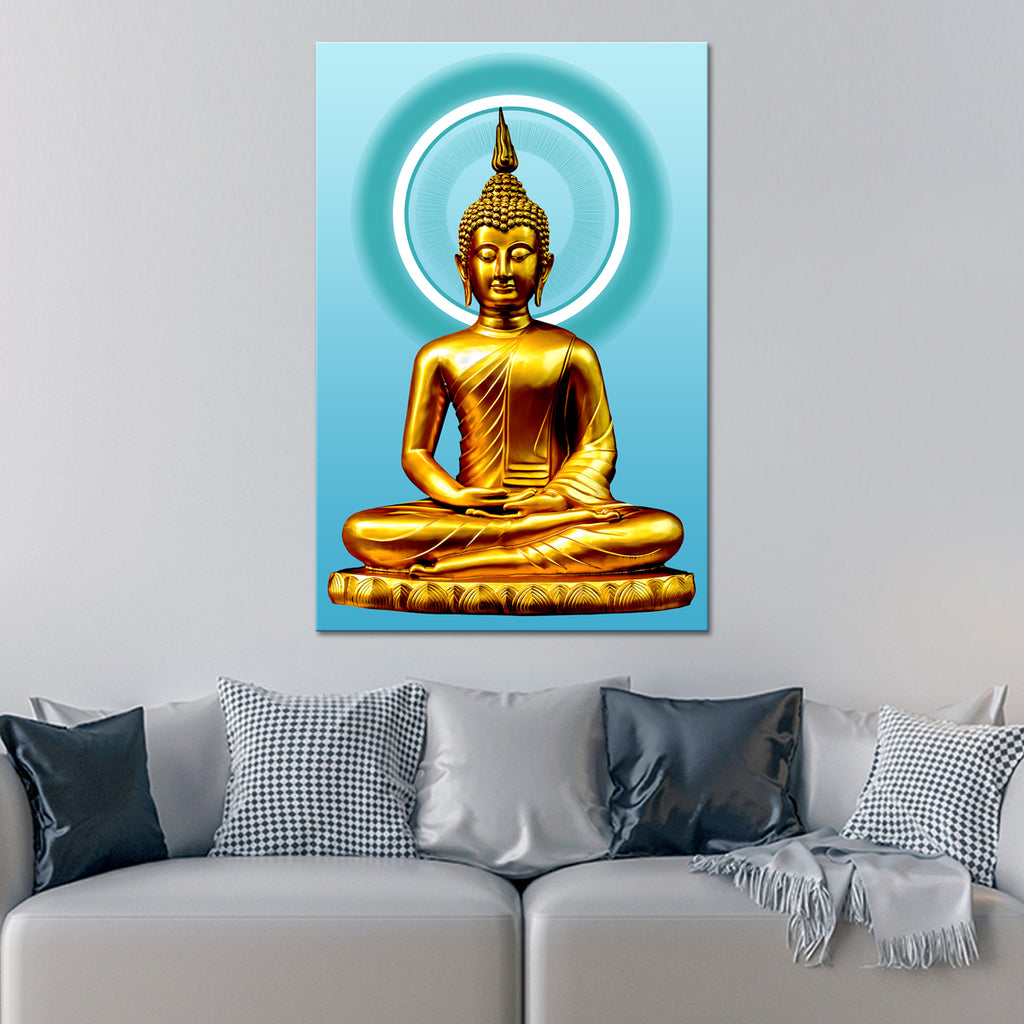 Turquoise illuminated buddha canvas wall art elephantstock