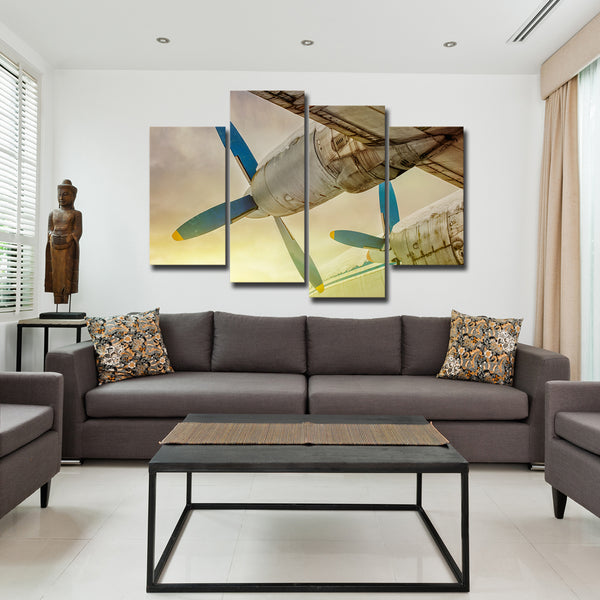 Blue Wings at Sunset Multi Panel Canvas Wall Art