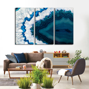 Blue Agate Crystal Multi Panel Canvas Wall Art - Macro