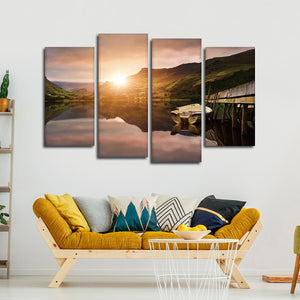 Boat Dock Multi Panel Canvas Wall Art - Boat
