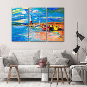 Boat Dock With Lighthouse Multi Panel Canvas Wall Art - Lighthouse
