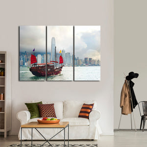 Boat in Hong Kong Multi Panel Canvas Wall Art - Boat