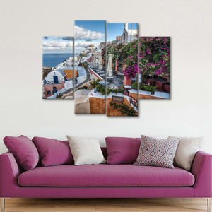 Bougainvillea And Cafes In Oia Multi Panel Canvas Wall Art - City