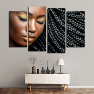 Braided Beauty Multi Panel Canvas Wall Art - Hair
